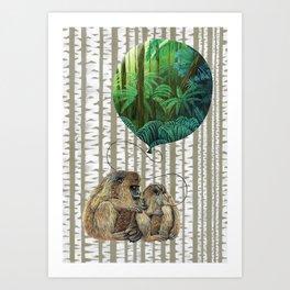 Monkey Balloon Dreams Art Print