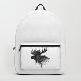 Black and White Moose Head Watercolor Silhouette Backpack
