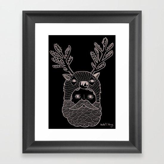 Portrait of Northern Deer Man Framed Art Print