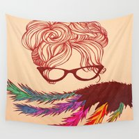 glasses Wall Tapestries featuring Ms. Glasses by Tiffany Saffle
