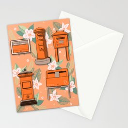 Orange Post Boxes Stationery Cards