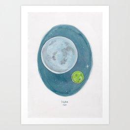 Watercolor Illustration of Haruki Murakami's novel 1Q84 Art Print