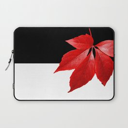 Red Leaf With Black & White Laptop Sleeve