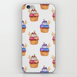 Pattern with hand painted watercolor cupcakes. iPhone Skin