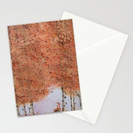 Autumn Birch Fox Stationery Cards