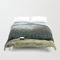 cabin Duvet Covers featuring Cabin in the woods by General Design Studio