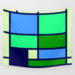 Mondrianista green blue Wall Tapestry