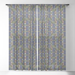 Cool Woven Blue Sheer Curtain