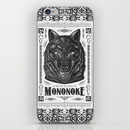 Mononoke Hime Wolf Pride Letterpress Line Work iPhone Skin