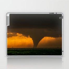 Silhouette - Large Tornado at Sunset in Kansas Laptop & iPad Skin