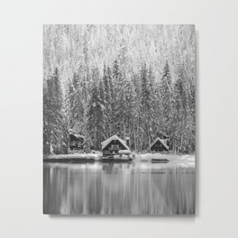 Cabin on the Water (Black and White) Metal Print