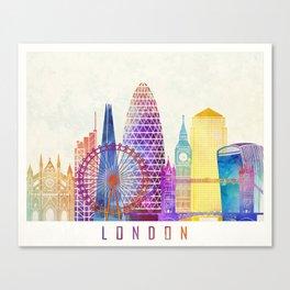 London landmarks watercolor poster Canvas Print