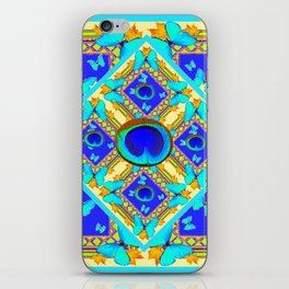Blue Art Nouveau Turquoise Butterfly Designs iPhone Skin