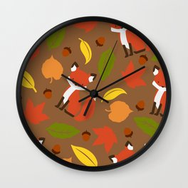 Fox Jumble - Brown Wall Clock