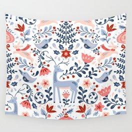 Folk Art Christmas Wall Tapestry