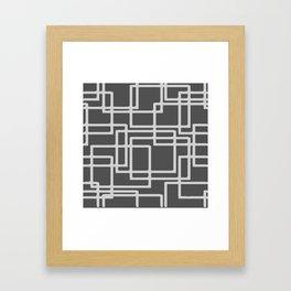 Retro Modern Blanched Slate Rectangles On Storm Grey Framed Art Print