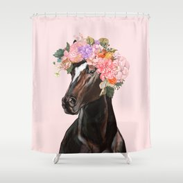 Horse with Flowers Crown in Pink Shower Curtain