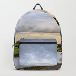 Canal and Bridge in Netherlands at Sunset Backpack