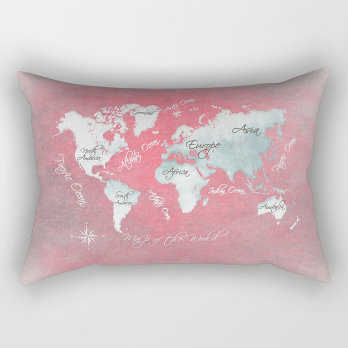 world map 143 red white #worldmap #map Rectangular Pillow