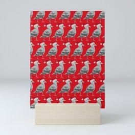 Seagull Santas in Red Mini Art Print