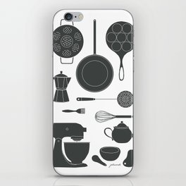 Kitchen Tools (black on white) iPhone Skin