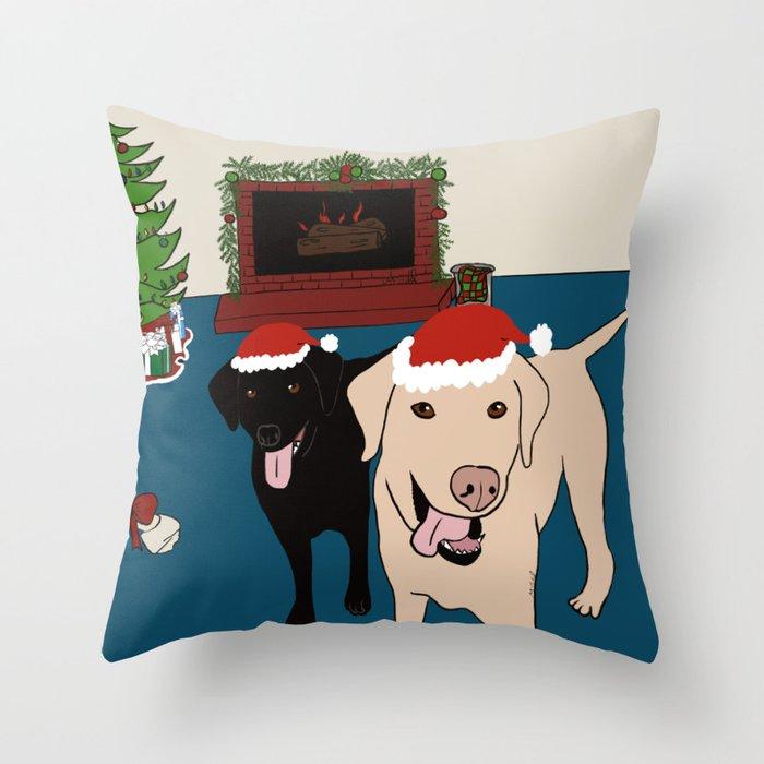 Labs Love Christmas! Throw Pillow