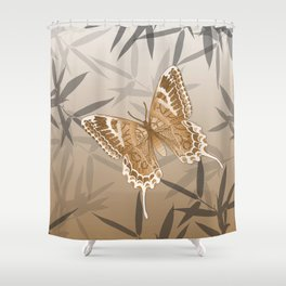 Beautiful Copper Butterfly Design Shower Curtain
