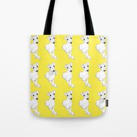 puppies Tote Bags featuring whippet puppies  by Emese M