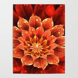 Red Dahlia Fractal Flower with Beautiful Bokeh (Vivid Crimson) Poster