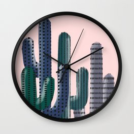 Stylized Cactus on Pink Wall Clock
