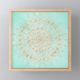 Mint and gold mandala Framed Mini Art Print