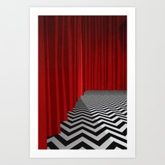 Twin Peaks Black Lodge with Chevron Floor and Red Curtains  Art Print
