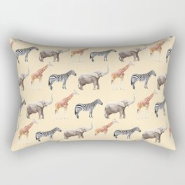 Animals, Elephant, Giraffe, Zebra, Zoo, Kids, Nursery, Minimal, Pattern, Modern art Rectangular Pillow