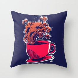 Wave Up Coffee Throw Pillow