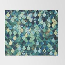 Mermaid Sea Green, Ocean Blue Throw Blanket