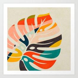 shape leave modern mid century Art Print