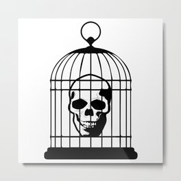 Skull Caged Metal Print