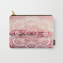Mandala Water : Living Coral /Rose Pink Carry-All Pouch