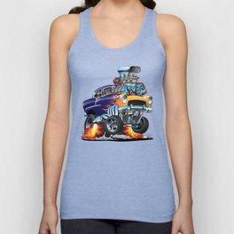 Classic Fifties Hot Rod Muscle Car Cartoon Unisex Tank Top