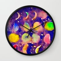 moon phase Wall Clocks featuring Playful Lunar Phase by Corinne Hough