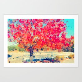 Orange Tree Watercolor  Art Print