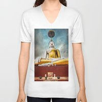 thailand V-neck T-shirts featuring Buddha Thailand by Adrian Evans