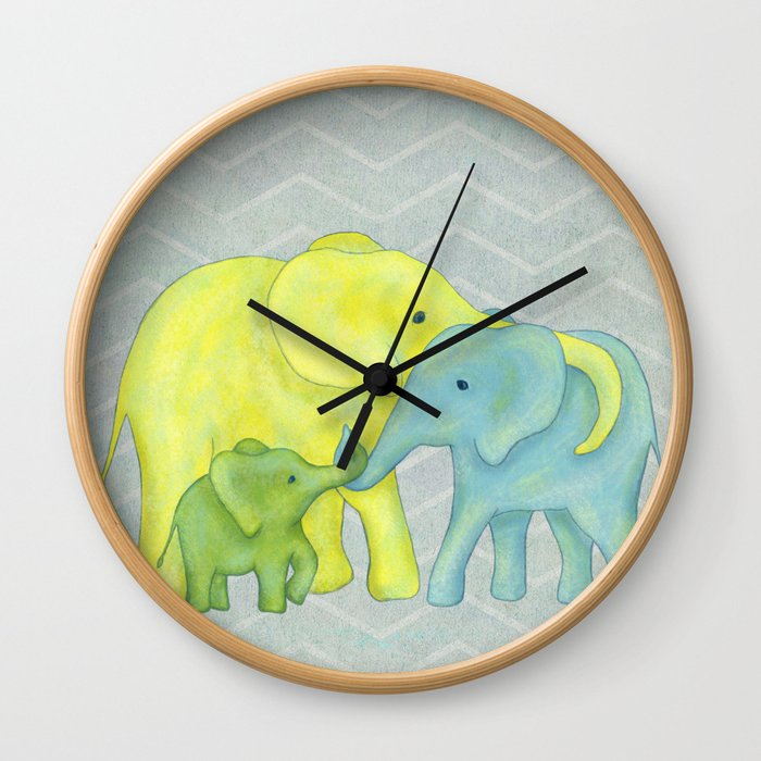 Elephant Family of Three in Yellow, Blue and Green Wall Clock
