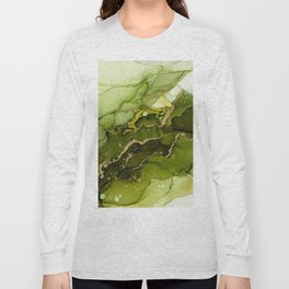 Green Olive and Gold Abstract Ink Long Sleeve T-shirt