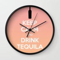 keep calm Wall Clocks featuring Keep Calm by lilacattack