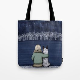 Love and Starlight with Blue Heeler Tote Bag