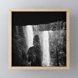 Washed Away by Waterfalls - Black and White Holga Film Photograph Framed Mini Art Print