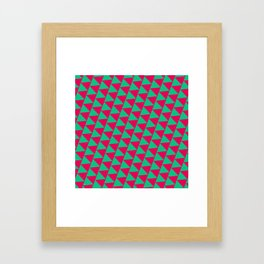 Green and pink triangle graphic Framed Art Print