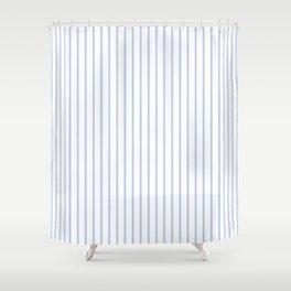 Alice Blue Pinstripe on White Shower Curtain