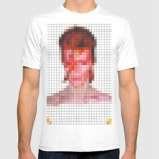 David Bowie : Aladdin Sane Pixel White Mens Fitted Tee MEDIUM